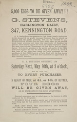 Advert For G. Stevens, Harlington Dairy